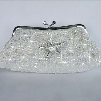 Sparkle-1052 Wedding, Bridal Evening Style Clutch Bag, White Satin with Beautiful Rhinestone Starfish Brooch