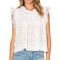 Frill Sheer Top in White