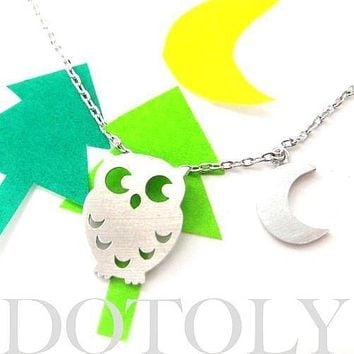Owl Bird Crescent Moon Charm Necklace In Silver | Animal Jewelry