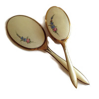 Vintage Vanity Set, Handled Mirror and  Brush, 1950's, Blue and Pink Flowers on Ivory Moire, Gold Tone Handles, Mid Century, Boudoir,