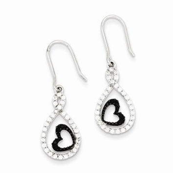 Sterling Silver Clear CZ Twisted Teardrop Black Heart Earrings