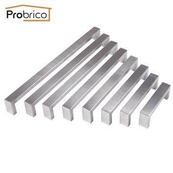 Probrico 10mm*20mm Square Bar Handle Stainless Steel Hole Space 96mm~320mm Cabinet Door Knob Drawer Handle Pull PDDJ30HSS
