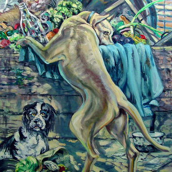 Dogs & Cat By Simon Michael Oil Painting