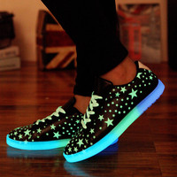 Led Shoes Women Casual Shoes Led Luminous Shoes Fluorescence Star Low cut ankle Light Up Glowing Leather Footwear zapatos mujer