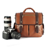 Canvas Leather DSLR Camera Shoulder Bag