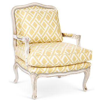 Harper Bergère, Lemon/White Lattice, Accent & Occasional Chairs
