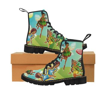 Black Girl Fairies Combat Martin Boots for Kids (Black)
