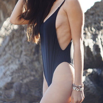90s Inspired Black Simple High Cut One Piece Swimsuit, Minimal Vintage Leotard One Piece, Cheeky Swimsuit