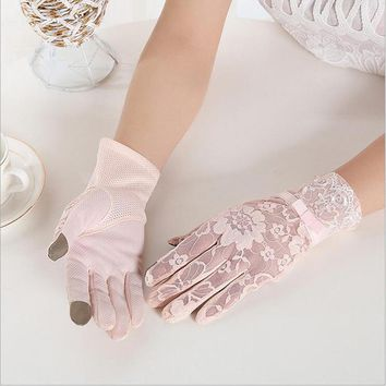 2017 Fashion Spring Summer UV Sunscreen Sun Lace Gloves Outdoor Driving Sleeve Thin Section Party Sexy Lady Mittens G137