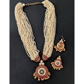 2 in 1 design Kemp stone Pearl bead Chain Necklace and Earring set