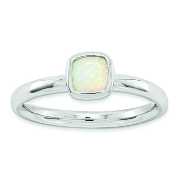 Sterling Silver Stackable Expressions Cushion Cut Created Opal Ring