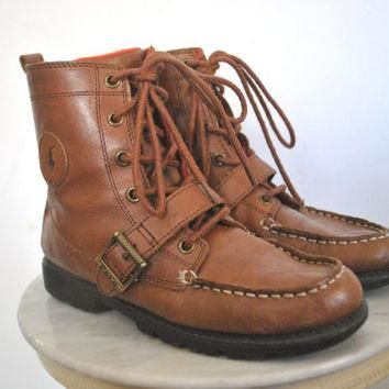 Ralph Lauren Boots / POLO Brown Leather / lace up / size 7