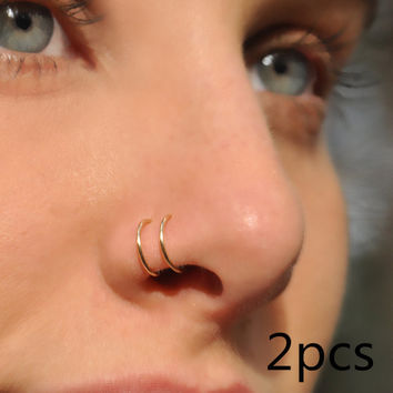 2pcs  Filled/ Fake Nose Ring handmade Double Cuff NO PIERCING punk fashion Simple Body Jewelry Unisex
