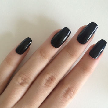 Gloss black coffin nails, hand painted acrylic nails, fake nails, false nails, stick on nails, nail art, artificial nails