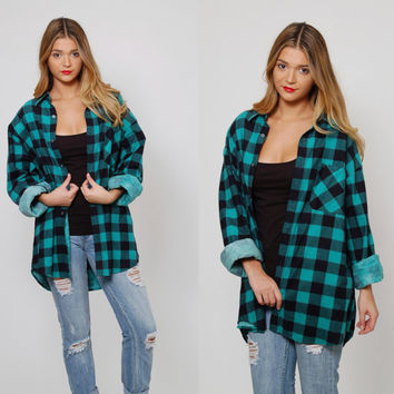 Vintage 90s BUFFALO Plaid Shirt Green PLAID Flannel Shirt Button Down Lumberjack Long Sleeve Flannel Shirt Oversized Grunge Shirt XL