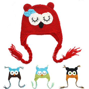 Winter Baby Soft Cartoon Hat Multicolor Infant Crochet Owl beanie Hat With Ear Flap Animal Cap Handmade Knitted hat 1pc H021E