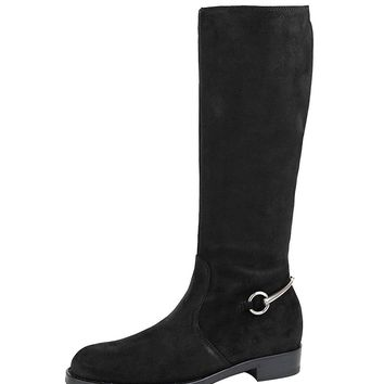 Gucci Horsebit Flat Suede Tall Knee Boots 354004