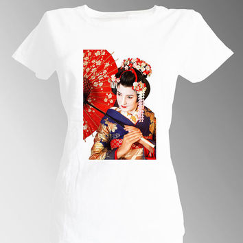 Geisha Maiko Geiko T shirt Japanese Exotic Kimono Cherry Blossom Tee T-shirt White Fitted Woman Short Sleeve Spirit Traditional tshirtfuneu