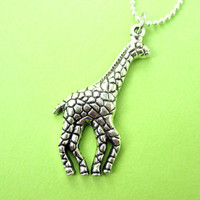 Abstract Giraffe Shaped Classic Animal Pendant Necklace in Silver | DOTOLY