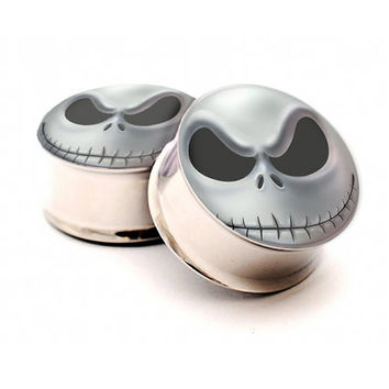 Jack Skellington Nightmare Before Christmas Ear Plugs in size 6g,4g,2g,0g,00g,7/16inch,1/2inch,13mm,9/16inch,5/8inch,7/8inch,1inch
