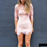 Lioness killer lace dress in pink blush
