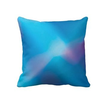Aqua Blue Violet Glowing Light #1 Abstract Throw Pillow- Colorful Pillow- Home decor, living room, bedroom, dorm, decor, modern  pillows