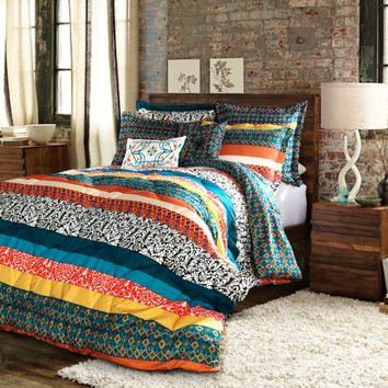 Boho Stripe Comforters Turquoise/ Tangerine 7 Piece Set Full/ Queen