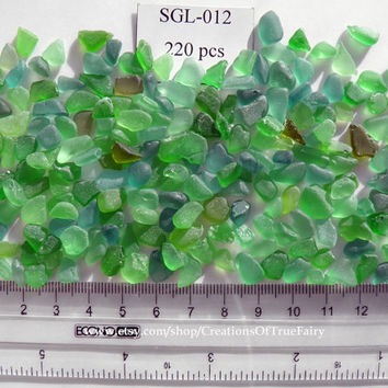 220 pcs Green sea glass from the Black Sea Set of natural beach glass Craft supplies for crafts Homemade handcrafted handmade jewelry SGL12