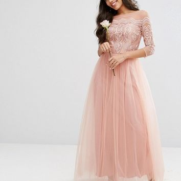 Chi Chi London Premium Lace Maxi Dress With Tulle Skirt at asos.com