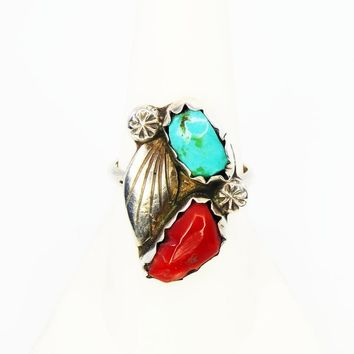 Navajo Sterling Silver Ring, Squash Blossom Style Leaves, Coral and Turquoise, Vintage 1970s, Native American, Indian Jewelry, Size 8
