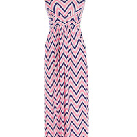 Navy and Pink Chevron Print Strapless Maxi Dress