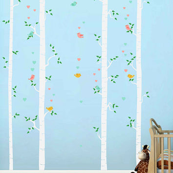 Birch decals trees wall decals Birds wall decals decals Woodland wall decals for Nursery foliage Wall Decals kids wall decal kcik1781