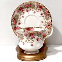Royal Albert Tea Cup  Pink & Red Roses Sheraton Series  Rosemary  English Bone China Collectible Tea Cup Montrose Shape  Shabby Chic Vintage