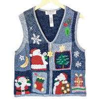Santa's Busy Day Tacky Ugly Christmas Sweater Vest