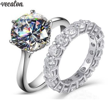 Vecalon solitaire Promise ring sets 3ct AAAAA Cz Stone 925 Sterling Silver Engagement wedding Band rings for women Men jewelry