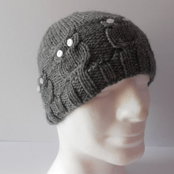 Knitted Grey Owl Hat. Men's Cable Knit Hat. Unisex Gray Beanie. Gray Beanie Hat.  Knit Men's Hat. Boyfriend Gift. Beanie Caps,  .