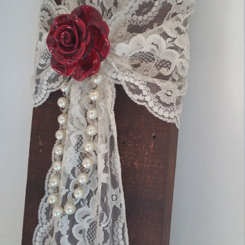 Hand Crafted Pearls and Lace Wedding Wall Cross / Elegant Christian Wood Cross / Love Cross
