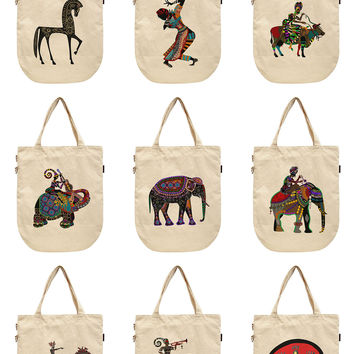 Women Africa Culture Art Printed Canvas Tote Shoulder Bags WAS_39