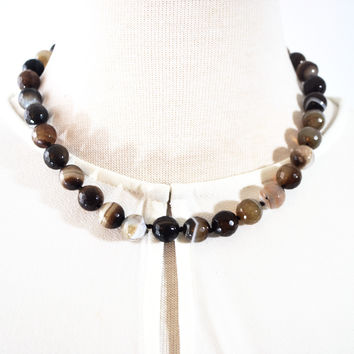 Natural  Brown Onyx Stripe Agate Beaded Necklace