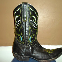 Vintage Black Leather Old Gringo Cowboy Boots, Blue Country Western Cowgirl