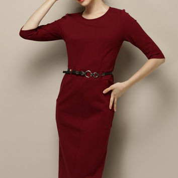 Wine Red Half Sleeve Belted Midi Pencil Slit Dress