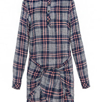 Multicolor Check Print Knot Sleeve Front Shirt Dress