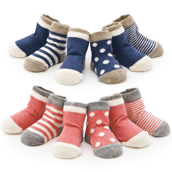 Spring 4 pair Cotton Baby Socks Set Stripe Newborn Infant Toddler Sock For 0-3 Years Old Christmas Gift Baby Boy Girl Socks