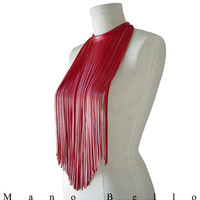 Long leather necklace Ruby Red lambskin Leather fringe necklace Leather bib necklace  Leather scarf, Valentine's Day special, in stock