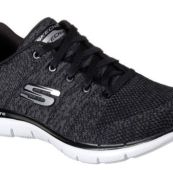 Skechers Black & White Flex Appeal 2.0 - High Energy Shoes