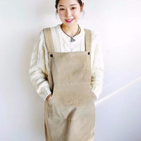 Suspender Dress in Cord - Cream/Navy