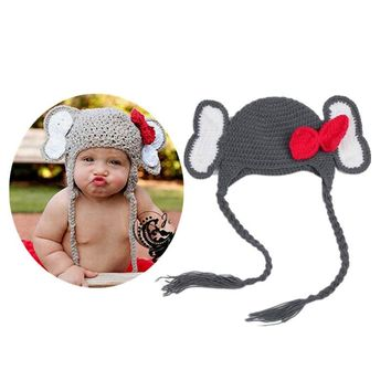handmade Elephant Caps Animal Costume Cosplay Chothing sets Hand-Knitted baby boys Girls prince crochet Beanie photography props hats caps