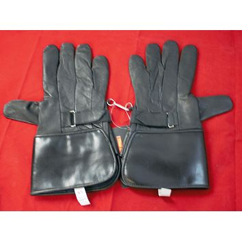 MOTORCYCLE LONG BLACK LEATHER GLOVES SIZE XS