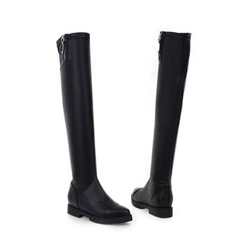 Women Boots 2016 Autumn Winter Ladies Fashion Slim Flat Heel Leather Boots Shoes Over The Knee Thigh High Long Boots 7809