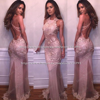 Robe de soiree Sexy Backless Halter Mermaid Prom Dresses 2016 New Arrival Vestido de festa Long Pink Lace Evening Gown